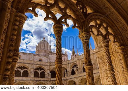 The Jeronimos Monastery - Lisbon Portugal - architecture background