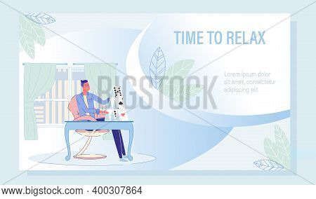 Mind Rest And Relax With Playing Card Motivation Poster. Businessman Building Stable Card-castle On