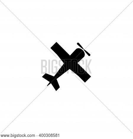 Retro Airplane, Vintage Plane, Biplane. Flat Vector Icon Illustration. Simple Black Symbol On White