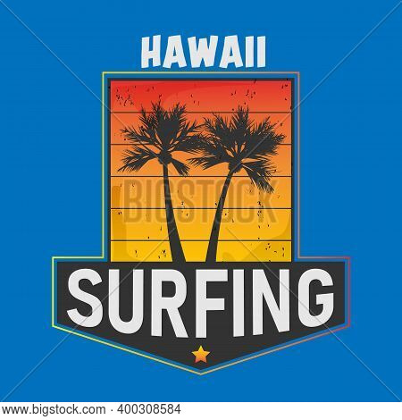Vintage Hawaii Aloha Surf Graphic With Ocean Waves And Palm Trees Vector T-shirt Design. Surf Ocean