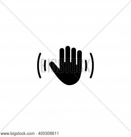 Hello Weave Hand, Waving Palm, Hi Arm. Flat Vector Icon Illustration. Simple Black Symbol On White B