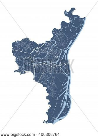 Strasbourg Map. Detailed Vector Map Of Strasbourg City Administrative Area. Cityscape Poster Metropo