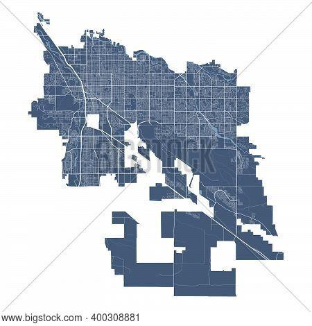 Tucson Map. Detailed Vector Map Of Tucson City Arizona Administrative Area. Cityscape Poster Metropo