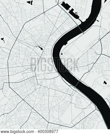 Urban City Map Of Bordeaux. Vector Illustration, Bordeaux Map Grayscale Art Poster. Street Map Image