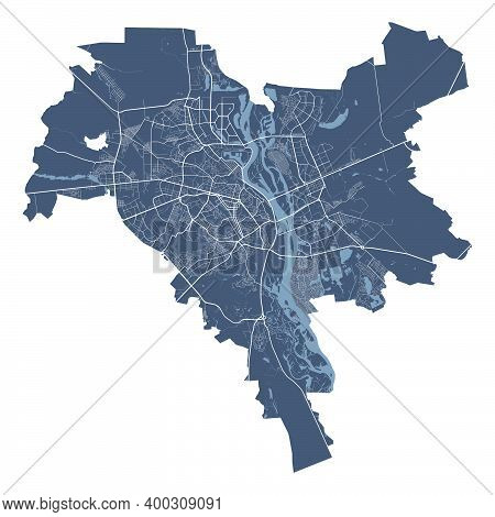 Kyiv Kiev Map. Detailed Vector Map Of Kyiv Kiev City Administrative Area. Cityscape Poster Metropoli