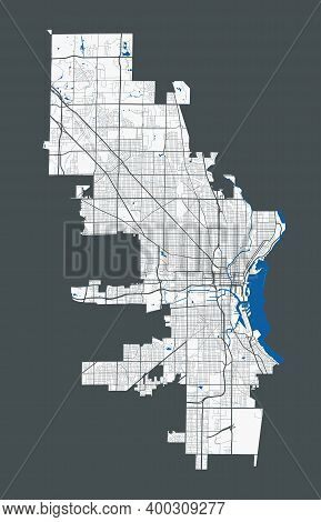 Milwaukee Map. Detailed Map Of Milwaukee City Administrative Area. Cityscape Panorama. Royalty Free