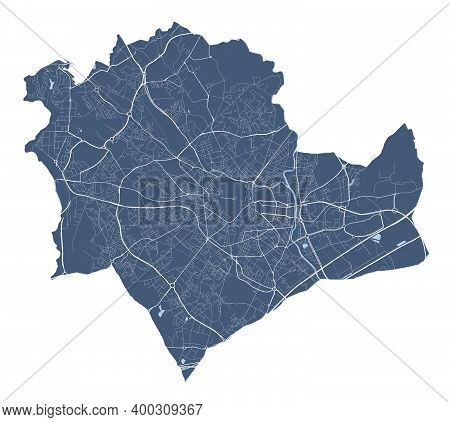 Montpellier Map. Detailed Vector Map Of Montpellier City Administrative Area. Cityscape Poster Metro