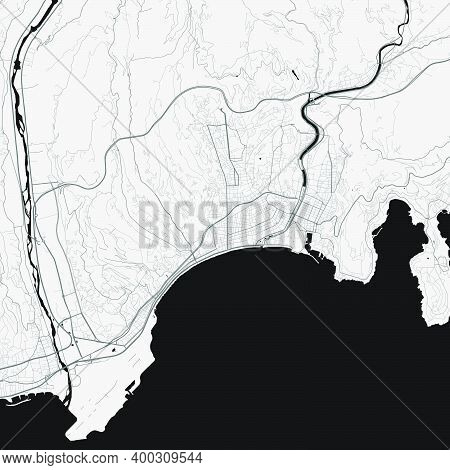Urban City Map Of Nice. Vector Illustration, Nice Map Grayscale Art Poster. Street Map Image With Ro