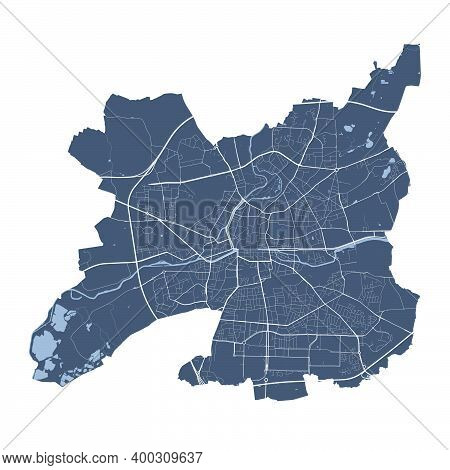 Rennes Map. Detailed Vector Map Of Rennes City Administrative Area. Cityscape Poster Metropolitan Ar