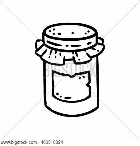 Jam Jar Doodle Image. Cute Cartoon Jam Logo. Media Highlights Graphic Icon