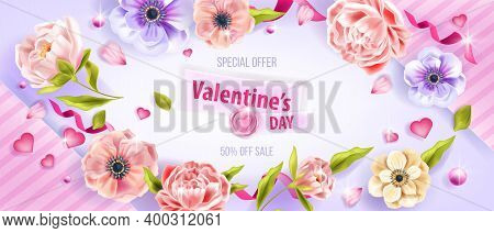 Love Vector Valentine's Day Sale Background With Anemone Flowers, Leaves, Peonies, Hearts, Petals. G