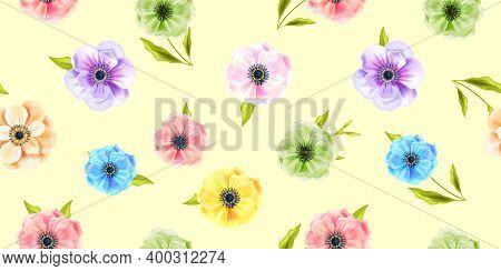 Floral Vector Spring Seamless Pattern With Multi-colored Anemone Flowers, Green Leaves On Soft Yello
