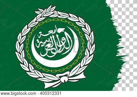 Horizontal Abstract Grunge Brushed Flag Of Arab League On Transparent Grid. Vector Template.