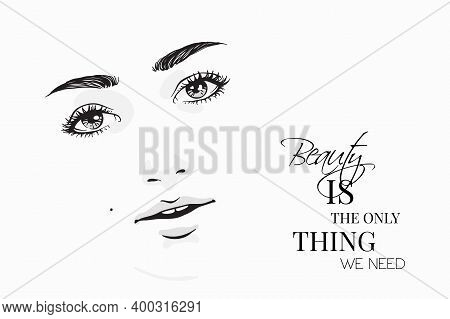 Tender Woman Portrait On White Background. Female Beauty. Black And White Sketch Of Beautiful Girl F