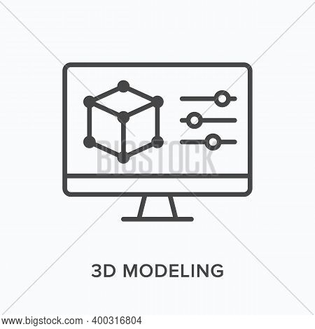 3d Modeling Flat Line Icon. Vector Outline Illustration Of Computer Screen With Cube Prototype. Prod