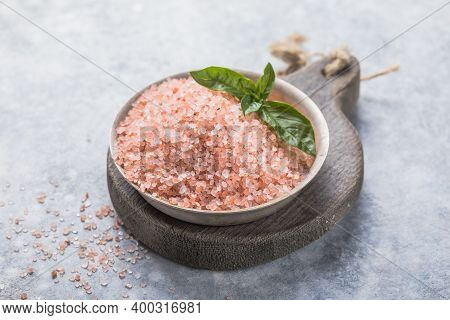 Himalayan Pink Salt Crystals With White Salt On Wooden Spoon, Scrub Spa Therapy, Cooking Healthy Ing