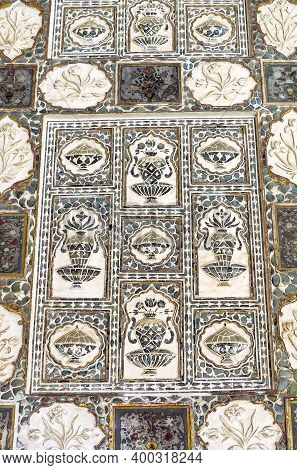 Mirror Mosaic And Marble Flowers On The Wall Of The Palace Sheesh Mahal In The Ancient Amber Fort, J