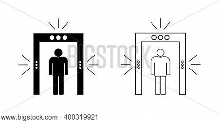 Icon Of Security In Airport. Metal Detector For Check, Inspection Of Body. Gate Of Scan In Airport.