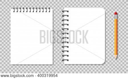 Notebook With Spiral. Blank Notepad With Metallic Binder. Mockup Of White Diary With Pencil. Templat