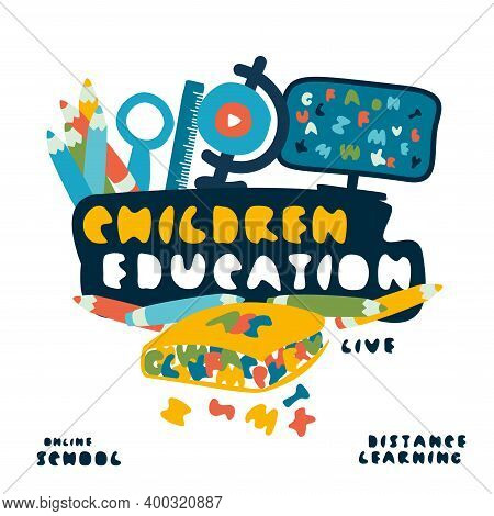 School Set. Book With Letters, Globe, Ruler, Pencils, Monitor. Online Learning Or Education. Online