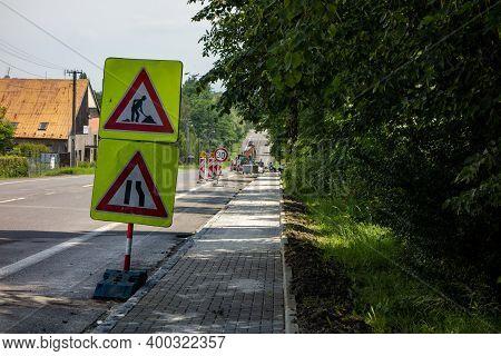 Senov, Czech Republic - June 26, 2020: Warning Of The Road Works Ahead. Reflection Traffic Signs Tel