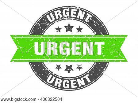 Urgent Round Stamp With Green Ribbon. Urgent