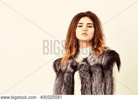 Boutiques Selling Fur. Woman Makeup Face Wear Fur Vest White Background. Silver Fur Vest Fashion Clo