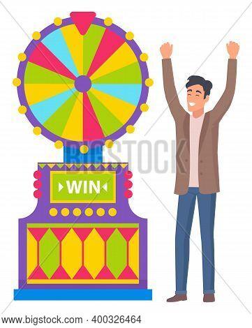 Winner Man Rising Hands, Success Or Fortune. Colorful Gambling Wheel, Lucky Play, Casino Game Machin