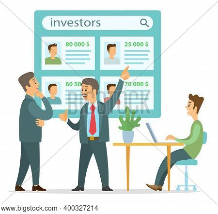 Cartoon Joyful Businessmen Discuss Investments, Guy Sits At Desk With Laptop And Listens To Men. On