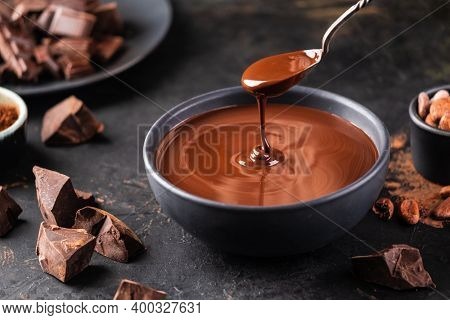 Hot melted chocolate dripping from a spoon into a bowl of chocolate on a dark textured background. Confectionery chocolate background. Chunks of chocolate.