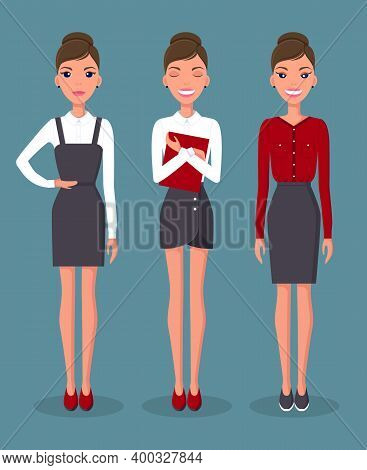 Girl In Various Positions And Emotions On The Face. Business Woman Set In Different Poses Vector Ill