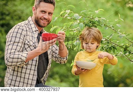 Healthy Nutrition Concept. Menu For Children. Nutrition Habits. Family Enjoy Homemade Meal. Healthy