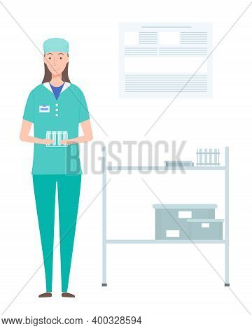 Laboratory Assistant Woman Holding Stand With Empty Test Tubes In Hands. Professional Medical Worker