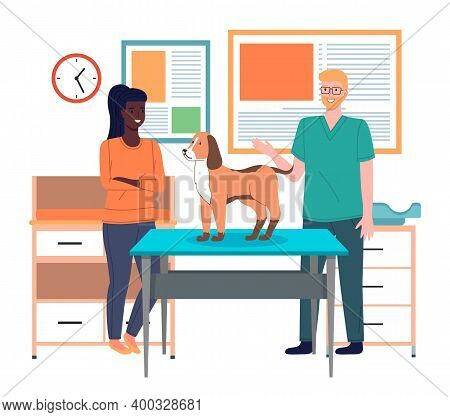 Veterinarian Doctor Holds Dog On Examination Table. Pets Health Care In Vet Clinic. Domestic Animals