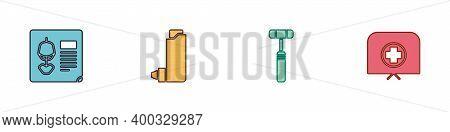 Set X-ray Shots, Inhaler, Neurology Reflex Hammer And Nurse Hat With Cross Icon. Vector