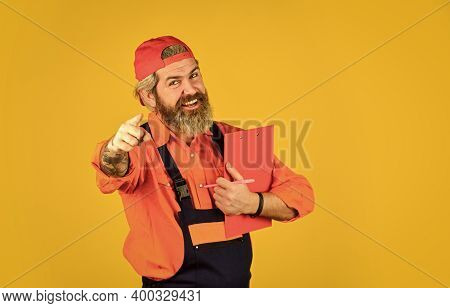 Courier With Document. Waybill Or Delivery Note. Delivery Service. Bearded Storekeeper. Supplier Of