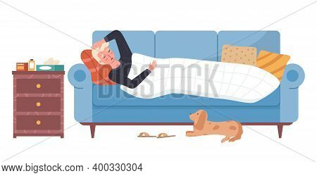 Male Character Having Cold And Lying In Bed On White Background. Dog Owner Is Sick Vector Illustrati