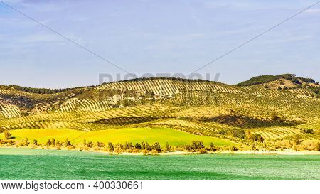 Spanish Nature Landscape. Lake Embalse Del Guadalhorce And Surrounding Countryside, Ardales Reservoi