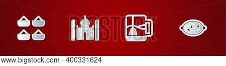 Set Indian , Taj Mahal, Cup Of Tea With Tea Bag And Kheer In Bowl Icon. Vector