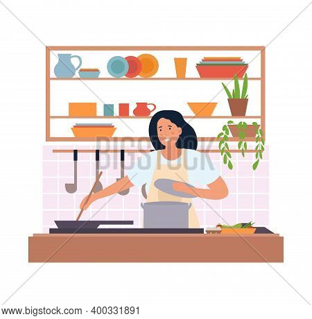 Cute Girl In Apron Cooking. Kitchen Utensils, Casserole, And Sauces, Ingredients. Homemade Food, Din