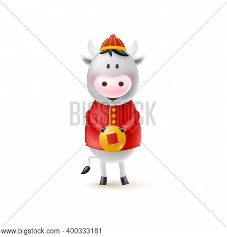 Chinese New Year Cute Bull. Funny Character In Cartoon 3d Style. Year Of The Ox Zodiac. Happy Bull W