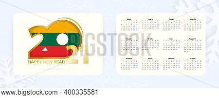 Horizontal Pocket Calendar 2021 In Lithuanian Language. New Year 2021 Icon With Flag Of Lithuania. V
