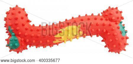 Spiny dog bone pet toy good for teeth isolated on white background