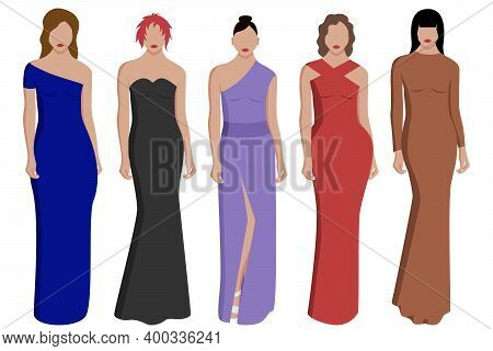 Women's Evening Dresses In Different Colors And Styles On Models With Different Hairstyles. Vector I