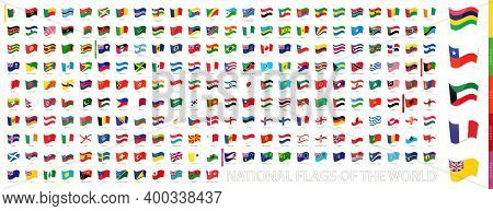 All National Flags Of The World, Waving Flag Collection. Vector Set.