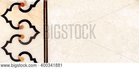 Horizontal or vertical banner with ancient marble geometrical ornament. Ancient mosaic on marble in Taj Mahal, India. Mock up template. Copy space for text
