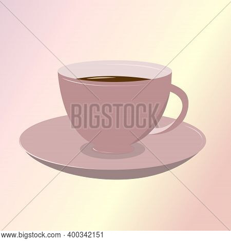 Lilac Cup And Saucer. Tea, Coffee In A Beautiful Mug. Vector Illustration.