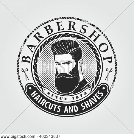 Barbershop Logo, Poster, Banner Template With Bearded Men. Vector Illustration