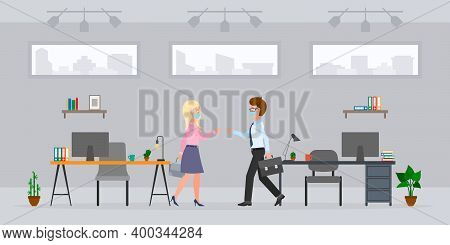 Coronavirus Prevention Cartoon Character Guy And Blonde Lady Bumping Fists, Saying Hello, Greeting I