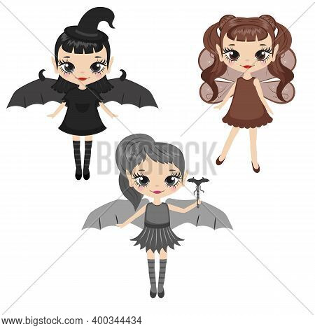 Set Of Cartoon Fairies Characters. Fairy Creatures With Sparkly Wings. Fairies In Three Colors - Bla